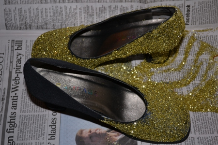 glittered shoes