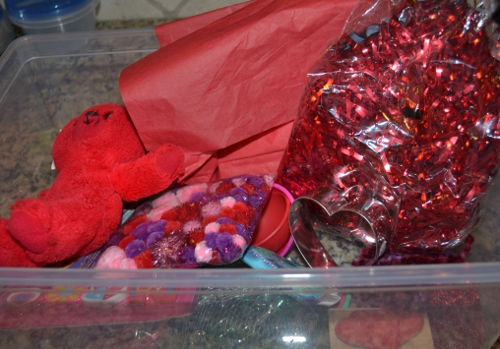 valentine sensory box supplies
