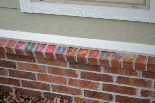 chalk on bricks