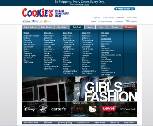 cookies kids girls section