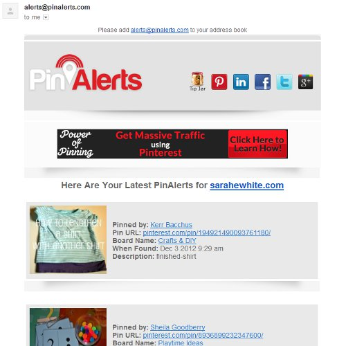 pin alerts emailed pinterest alerts
