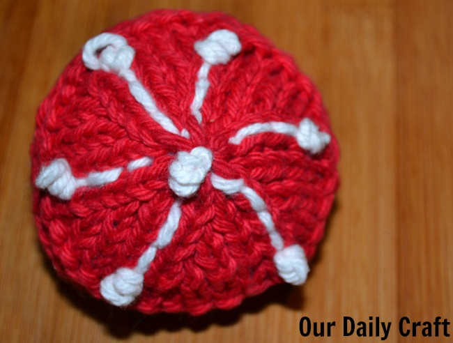 knit ball ornament