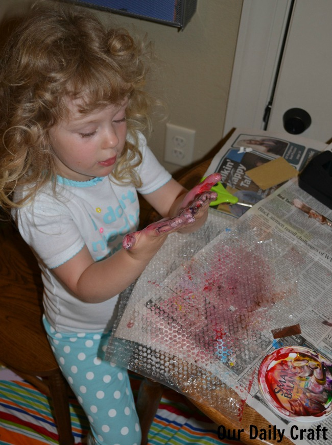 finger painting bubble wrap