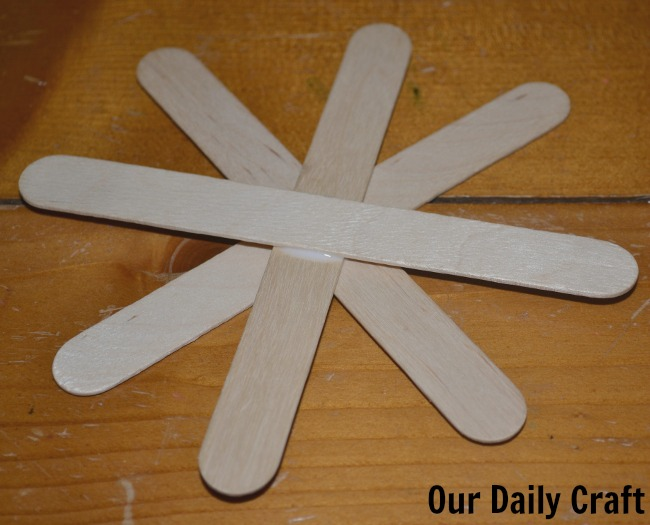 glued craft sticks