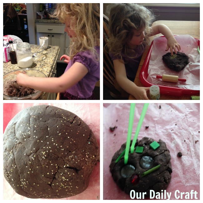 chocolate glitter playdough