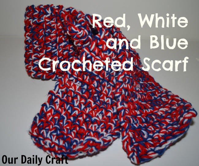 Red, White and Blue Crocheted Scarf {Iron Craft Challenge}