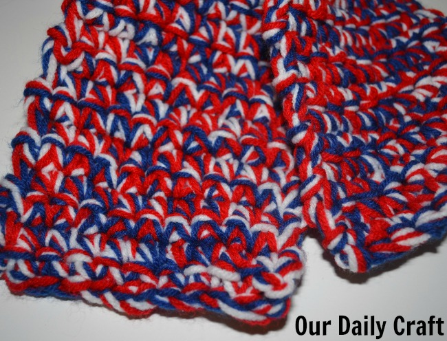 Red White And Blue Crocheted Scarf Iron Craft Challenge Our