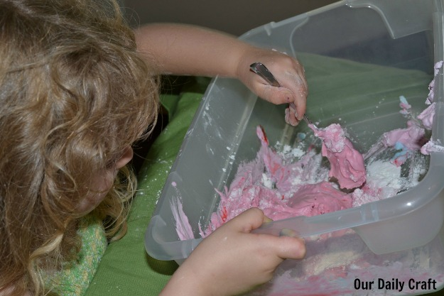 pink shaving cream sensory