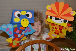 playing with paper bag puppets