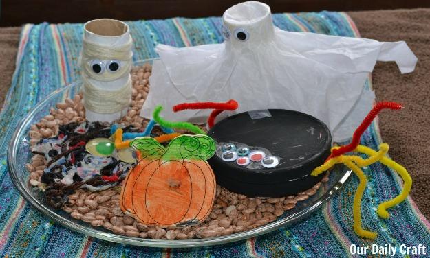 finished halloween kid craft centerpiece