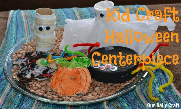 Gather your kid's Halloween crafts into a cute display.
