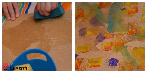 painting on cardboard with sponges