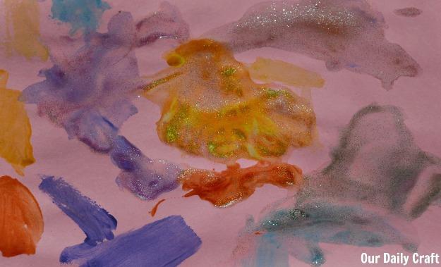 glitter gel painting