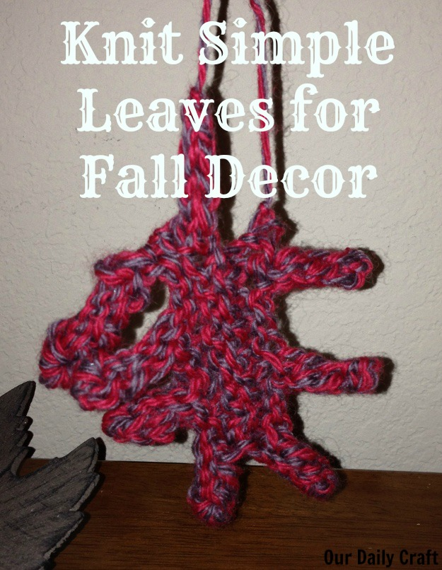 Knit an oak leaf for fall decor.