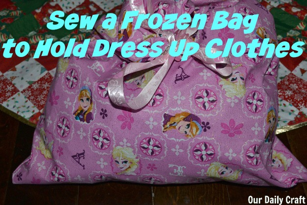 Sew a Frozen bag to hold dress up clothes or for a gift bag