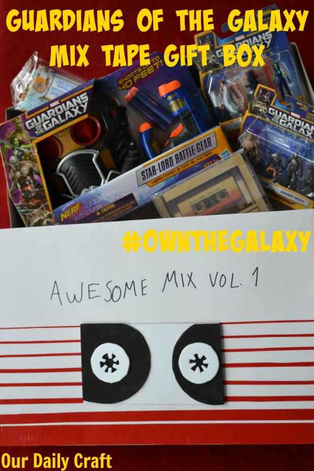 Make a mix tape inspired gift box to give Guardians of the Galaxy toys and movie this holiday.