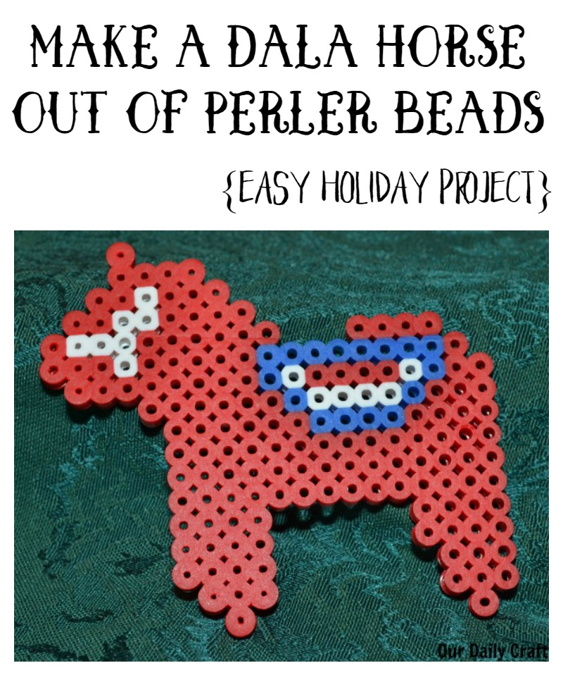 Make a dala horse out of perler beads for holiday decor or to use on a gift bag.
