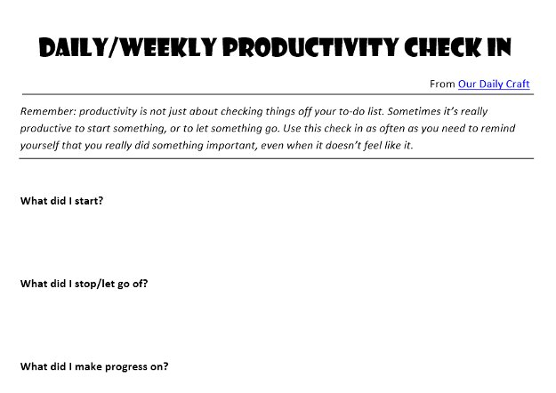 Feel Productive with a Daily/Weekly Check In