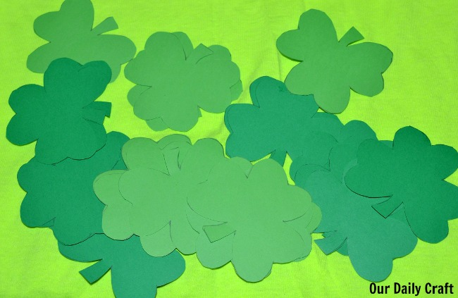 cut paper shamrocks