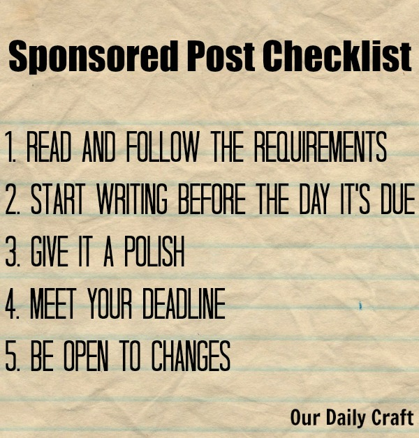 checklist for writing sponsored posts