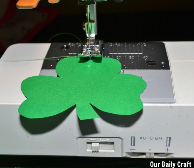 sewing paper shamrocks