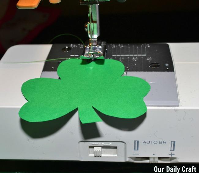 sewing paper shamrocks