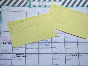 Index cards and multiple colors of pen are your blog planning friends.