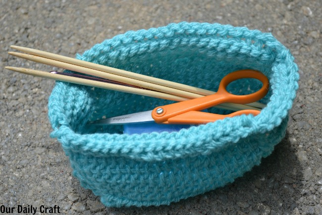 tunisian crochet basket diy