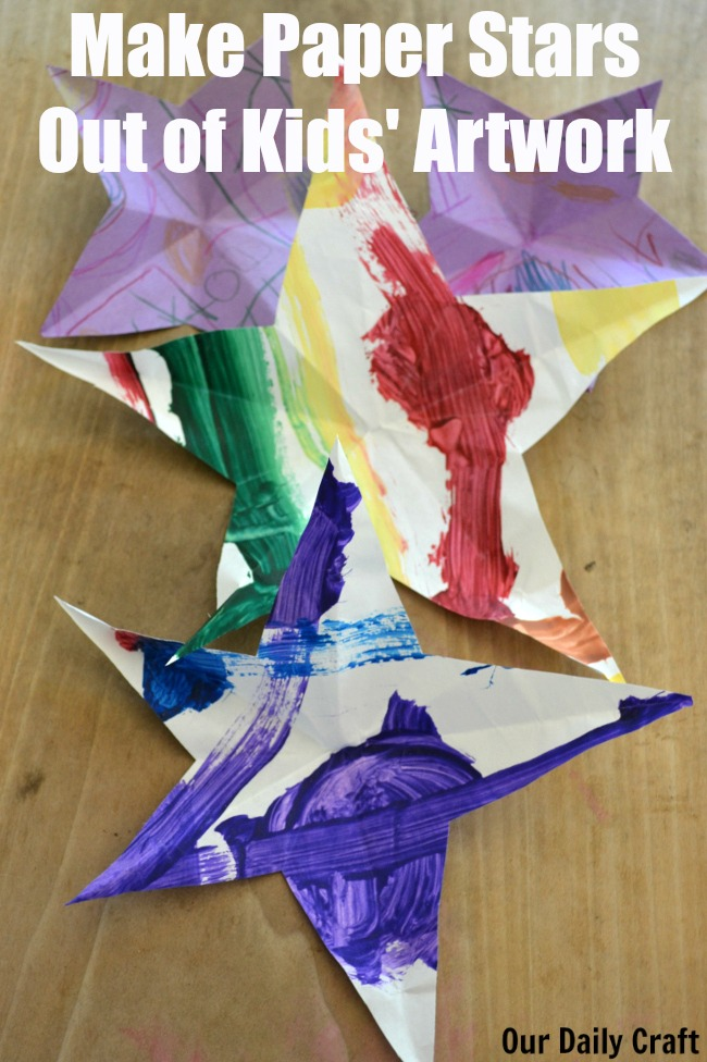 Make One-Cut Paper Stars from Kids' Artwork {Iron Craft Challenge}