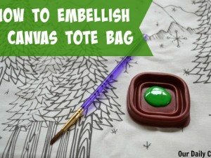 embellish a canvas tote bag