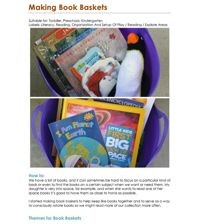 make a book basket for kids