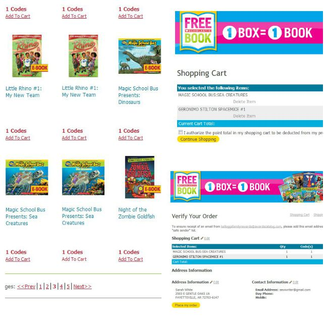 Ordering books with Kellogg's Family Rewards