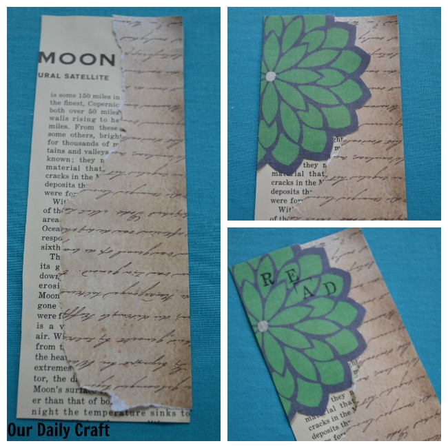 How to make a paper collage bookmark.