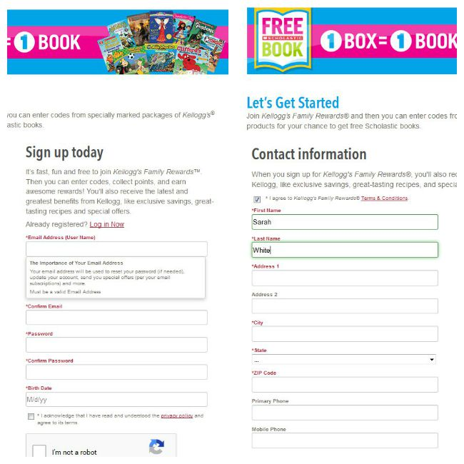 Sign up for Kellogg Family Rewards to earn free books