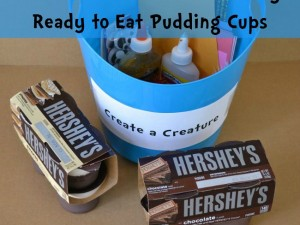 Use Hershey's pudding cups to make a snack and a cute creature craft.
