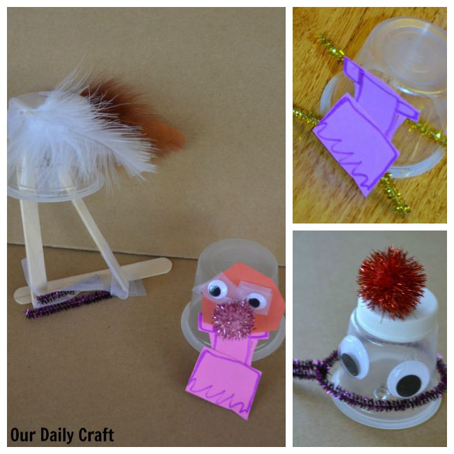 creatures made with pudding cups and craft supplies