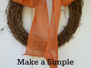 Make an easy burlap bow to decorate a wreath for fall.