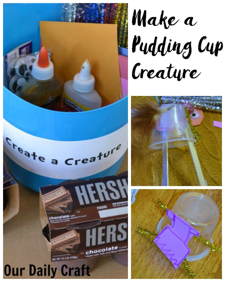 Make a pudding cup creature to upcycle plastic cups in a fun way.