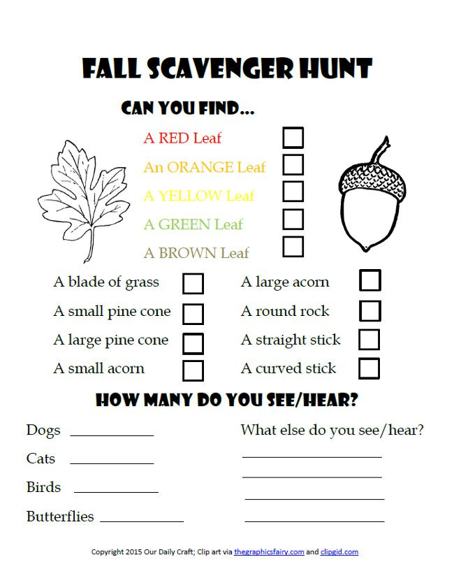free fall scavenger hunt printable