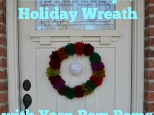 make a simple pom pom wreath for holiday decor