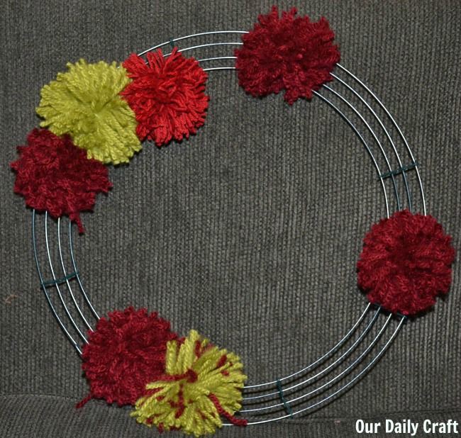 building pompom wreath