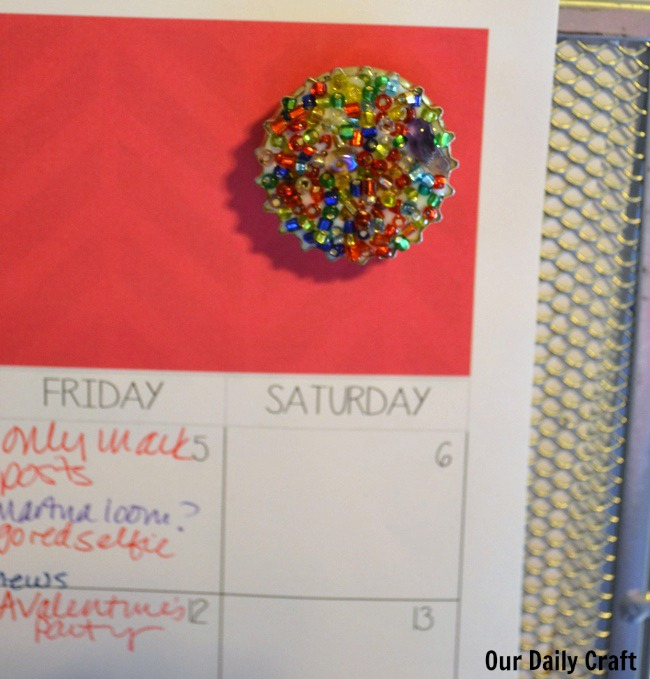 bottle cap magnet with beads