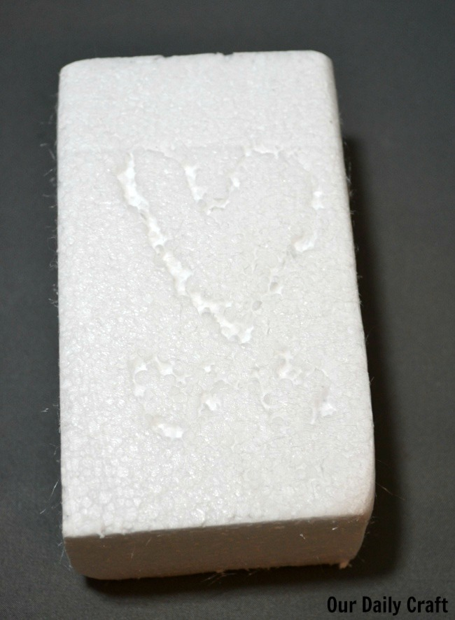 heart carved in foam