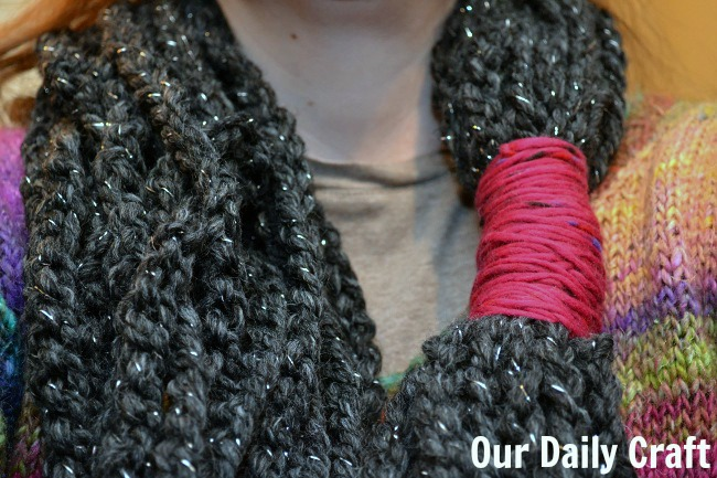 wearing the crochet chain stitch scarf