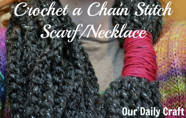 crochet a chain stitch scarf necklace