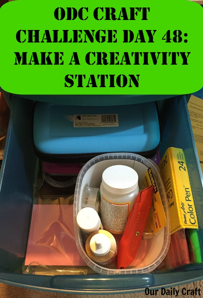 Make a creativity station to keep tools handy where you use them.