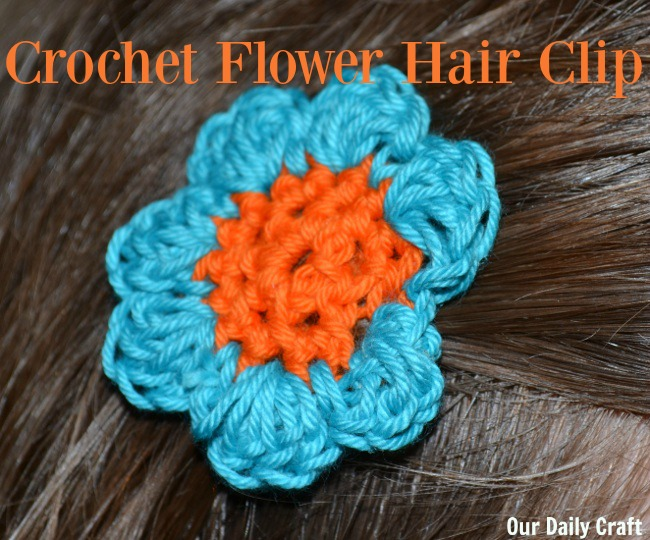 Crochet a simple flower and turn it into a hair clip.