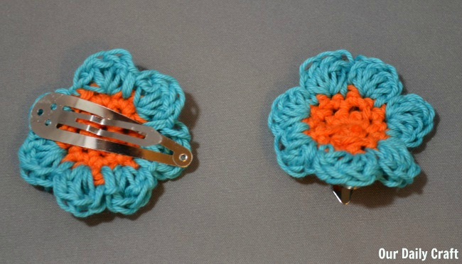 crocheted flower hair clips