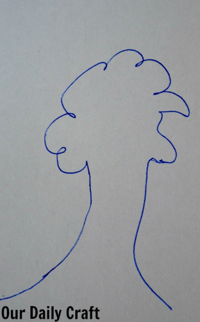 tree face line drawing