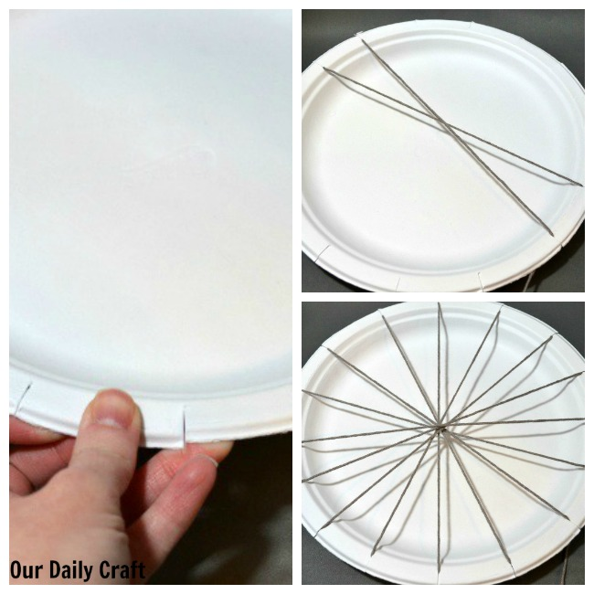 setting up a paper plate loom
